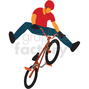 boy riding bmx bike clipart. Royalty.
