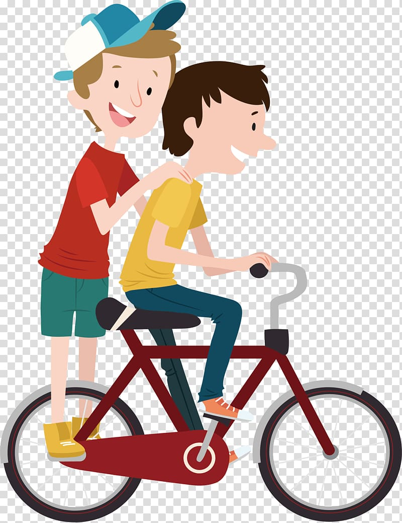 Two boys riding bicycle illustration, Bicycle Child Cycling.