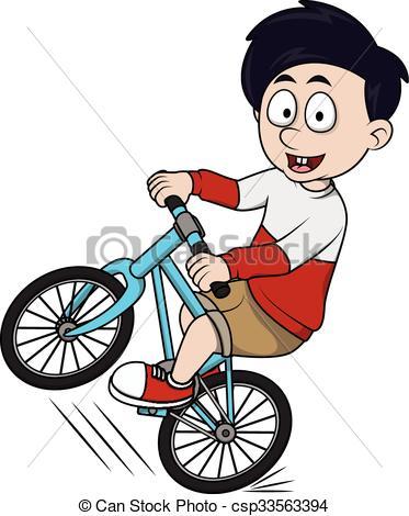 boy riding bicycle cartoon illustra.