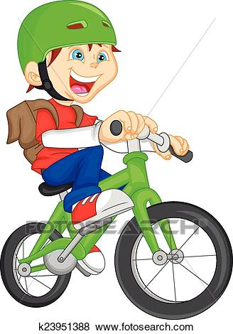 Cute boy riding bicycle Clip Art.