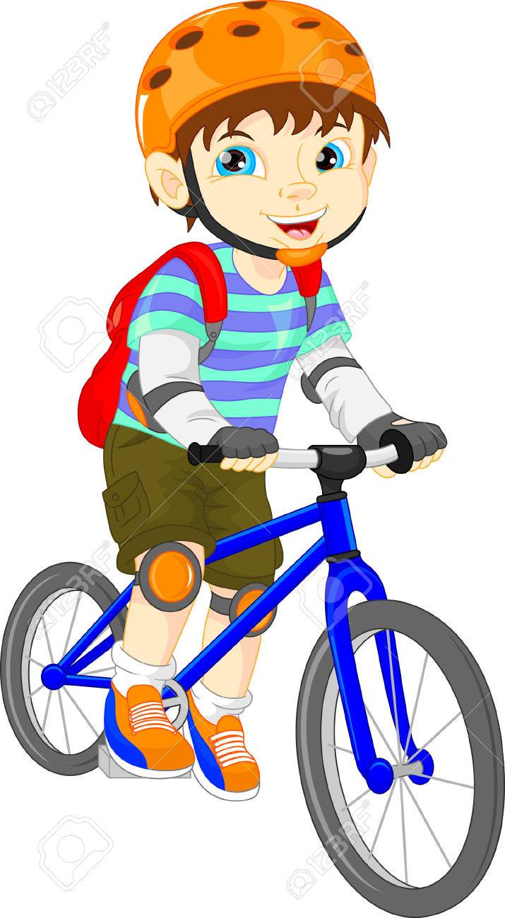 cute boy on a bicycle.