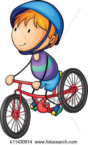 A boy riding on a bicycle Clipart.