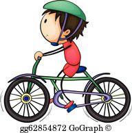 Boy Riding Bicycle Clip Art.