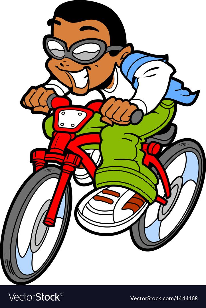 Happy Boy Riding Bike.