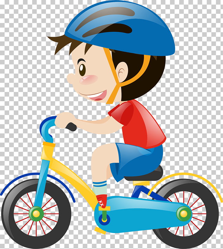 Cartoon child car, boy using bicycle illustration PNG.