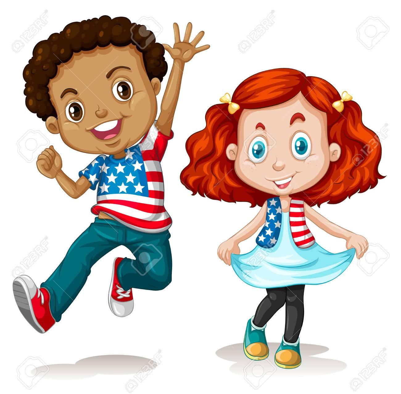 American boy and girl greeting illustration.
