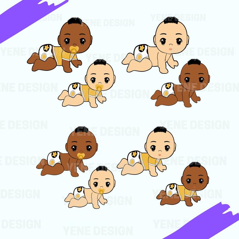 Afro Baby Boy, Girl, Clipart Instant Download, bundle, silhouette, african  american, black boy, baby shower, birthday.