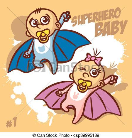 Superhero Baby Boy Girl Clipart.