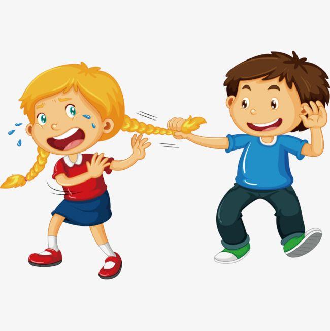 fight,little boy,little girl,cartoon,little,boy,girl,slapstick.