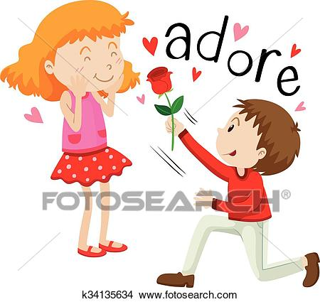 Boy giving rose to the girl Clipart.