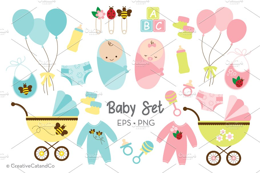Baby Boy and Girl Vector EPS PNG Set.