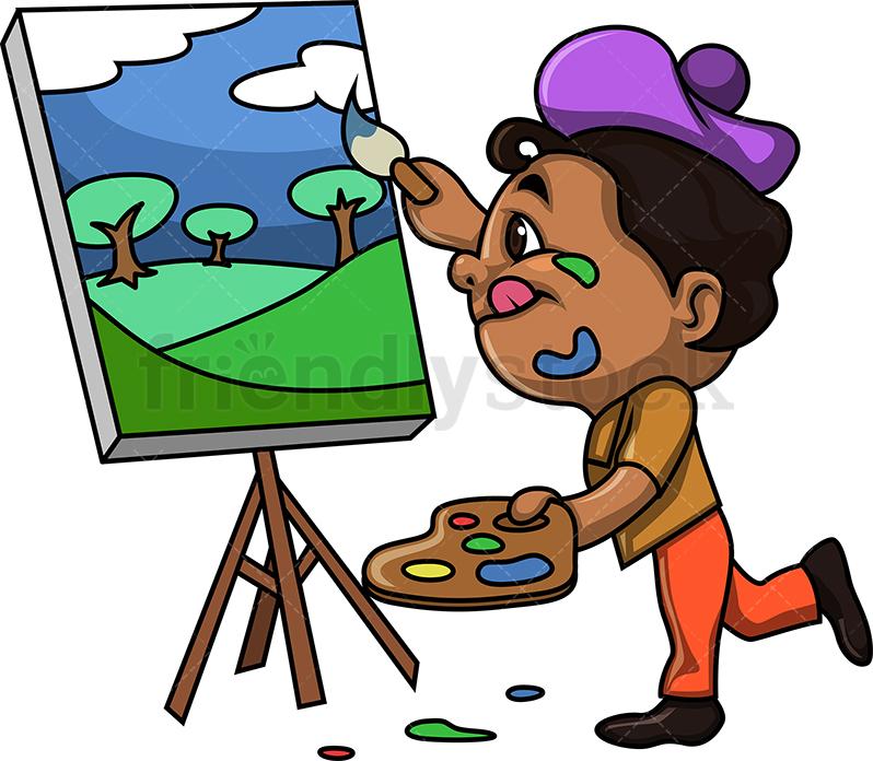 Black Kid Painting A Landscape.