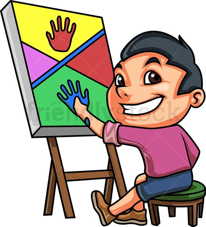 Kid Doing Hand Painting.