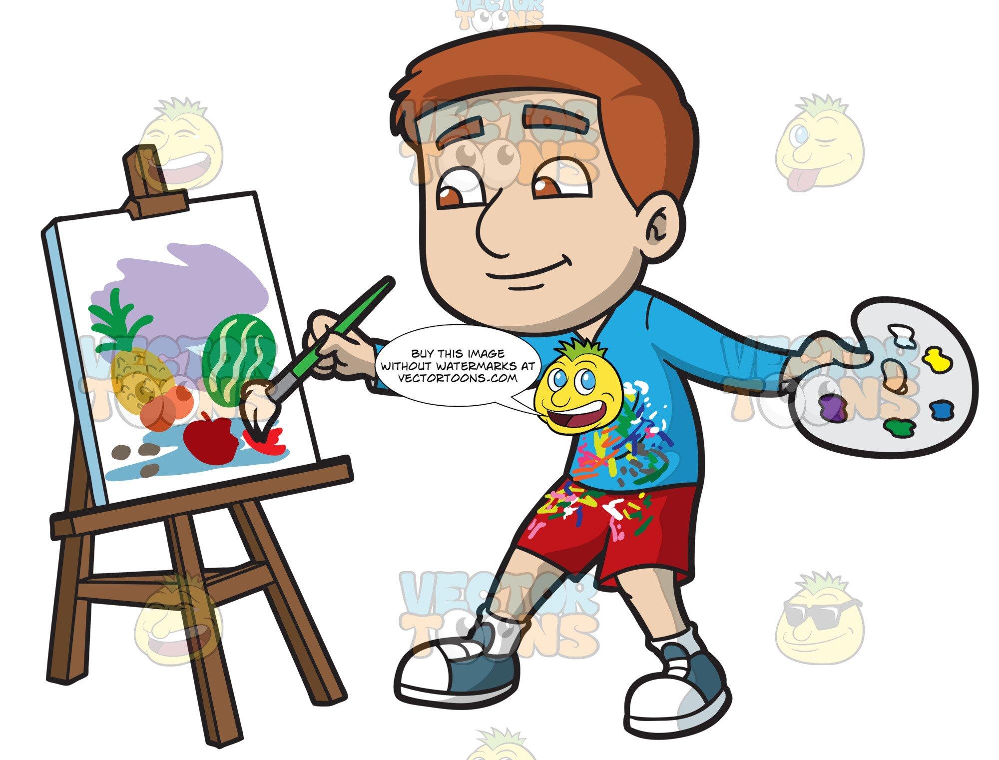 A Boy Painting Still Life Fruits.