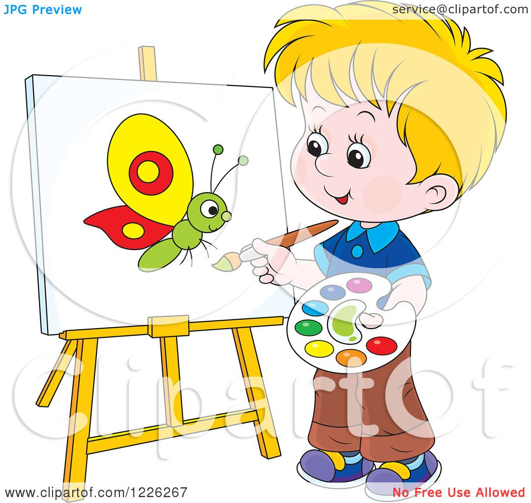 Clipart of a Caucasian Boy Painting a Butterfly on a Canvas.