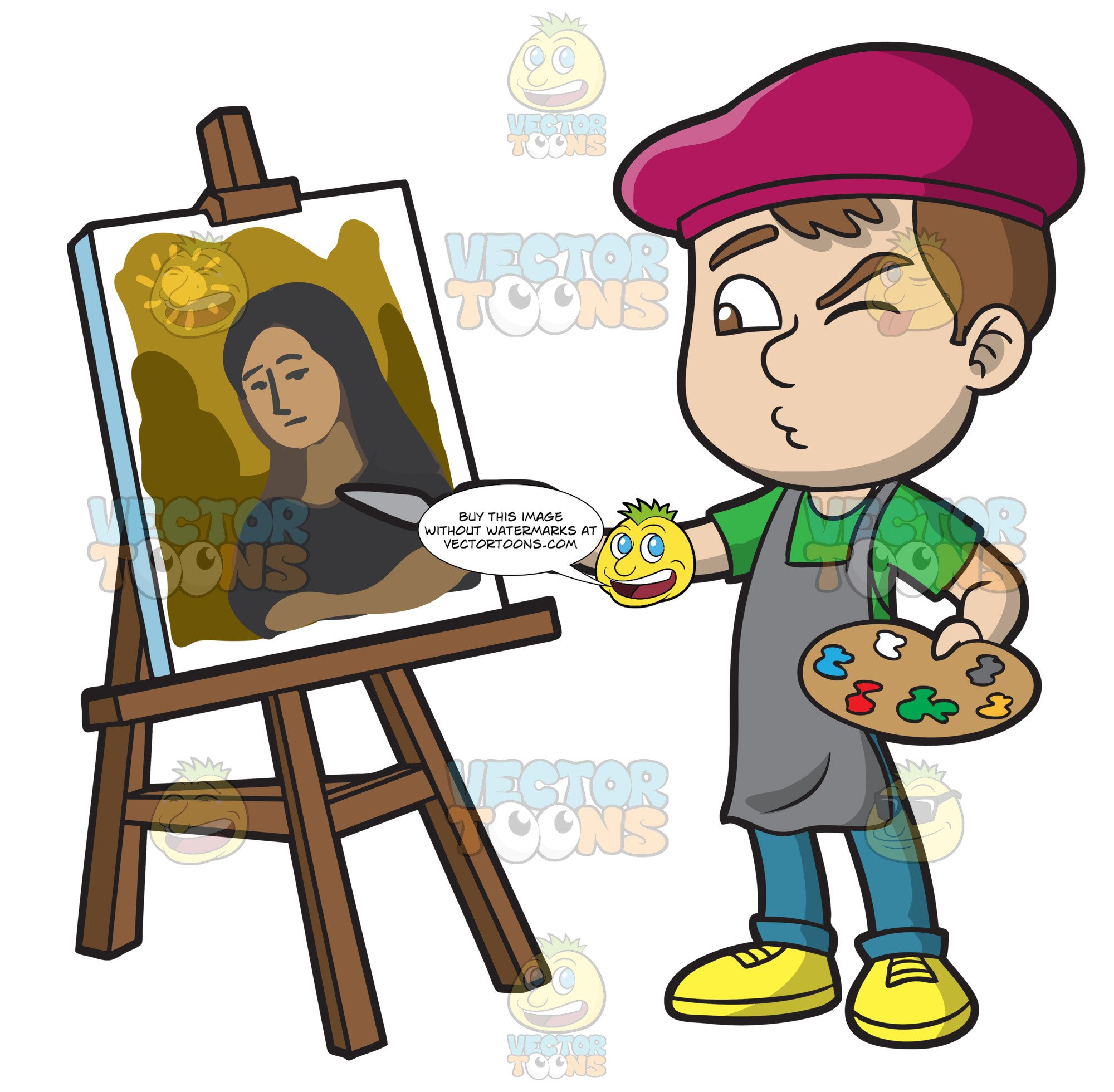 A Boy Painting A Portrait.