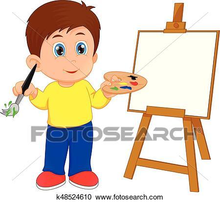 Cartoon boy painting Clipart.
