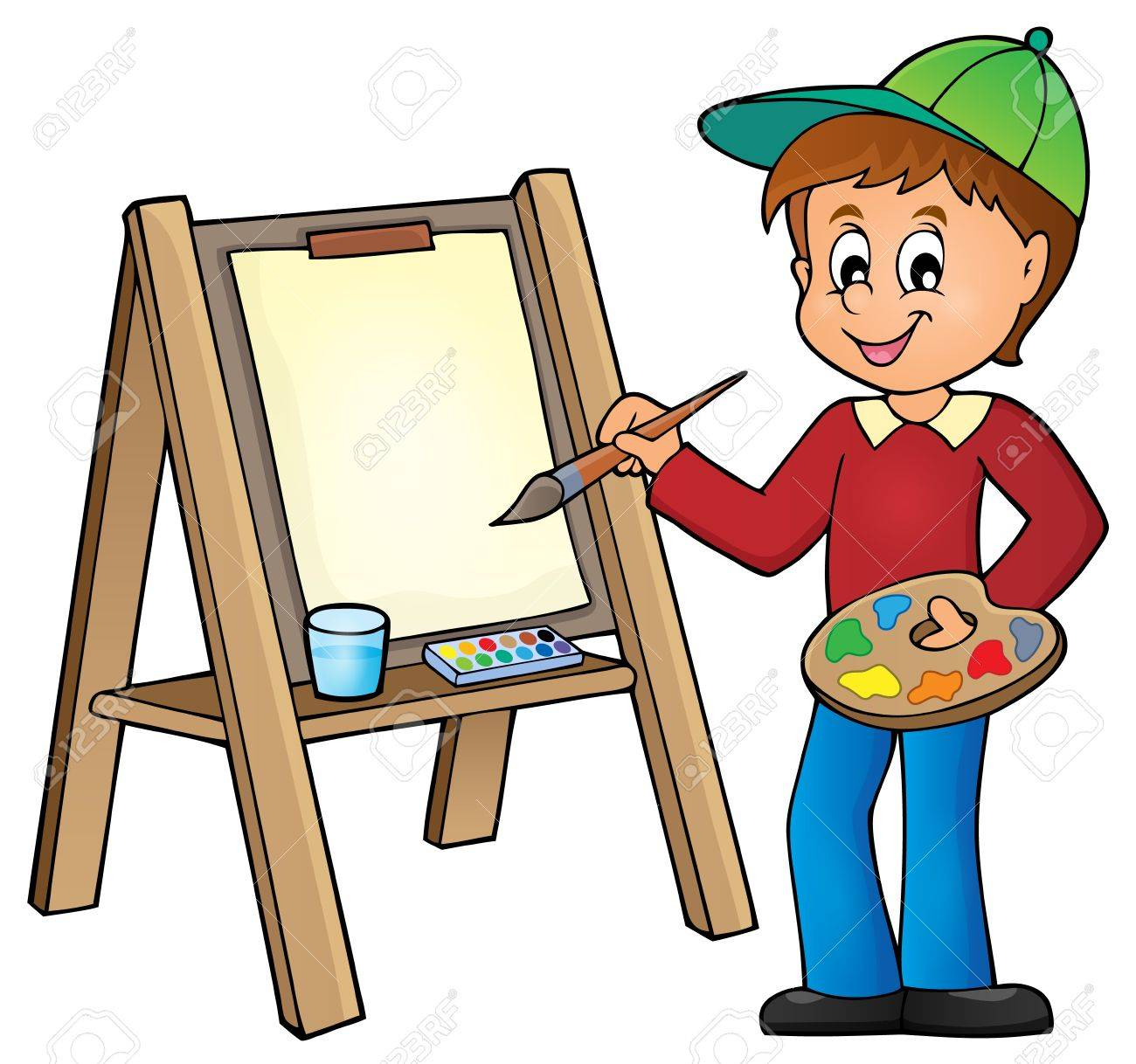 Boy painting on canvas 1.