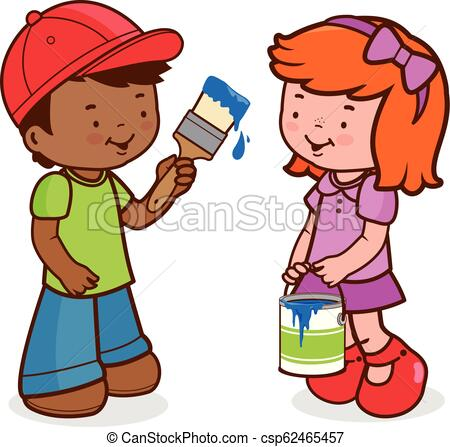 Children painting with a paint brush. Vector Illustration.
