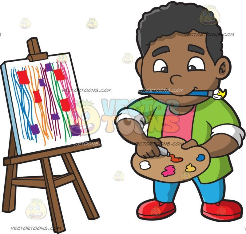 A Chubby Boy Painting Abstract: A black boy with curly hair wearing.