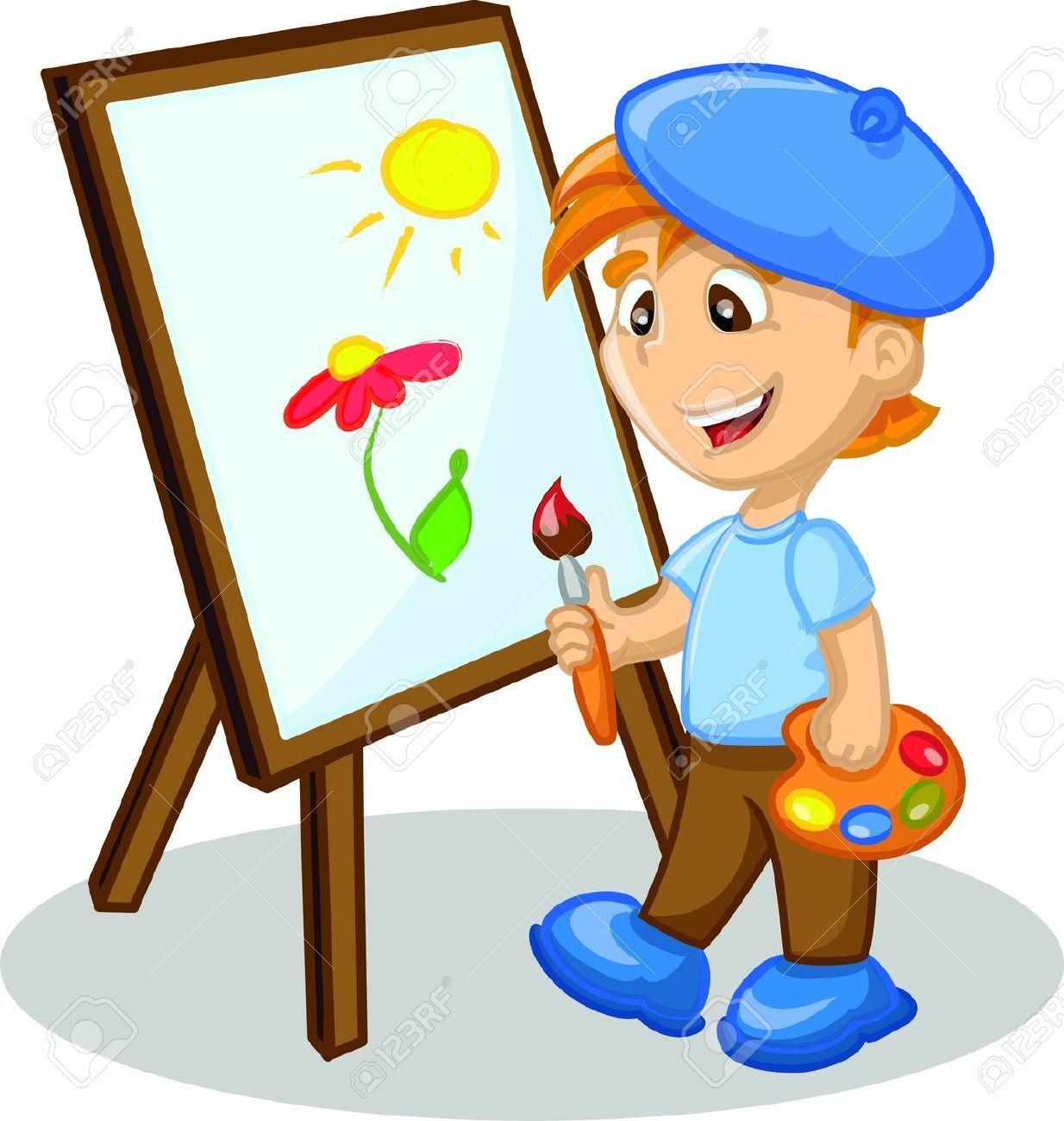 boy painting cartoon.