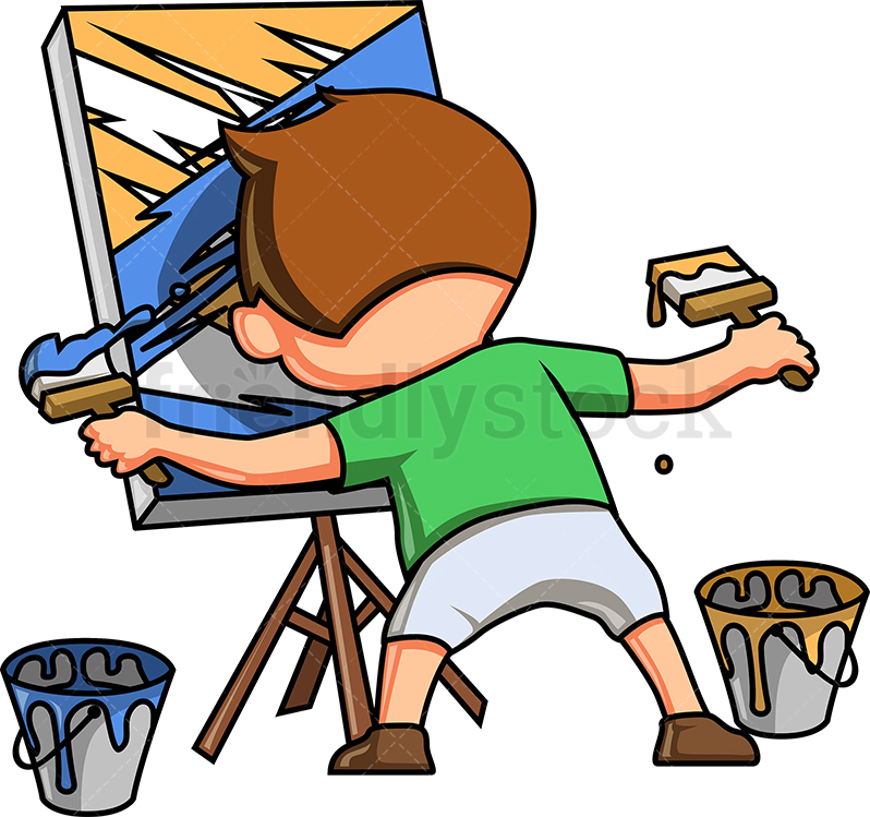 Little Boy Painting An Abstract Scene.
