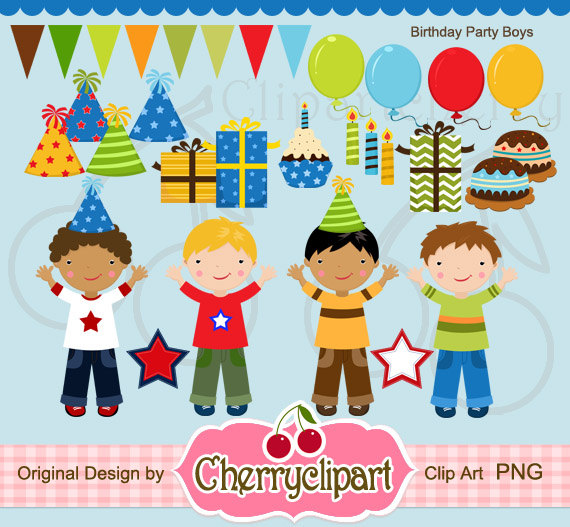 Boy Birthday Party Clipart.