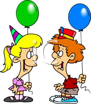 Cartoon of a Boy and Girl at a Birthday Party.