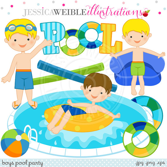Boys Pool Party Cute Digital Clip Art.