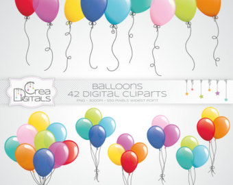 Party Balloons Clipart Set.