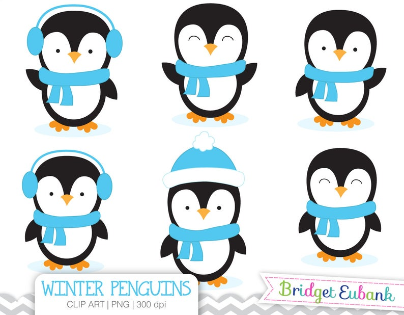 Penguin Clipart, Boy Penguins Clipart, Baby Penguin Clipart, Blue Penguins,  Commercial Use, INSTANT DOWNLOAD.