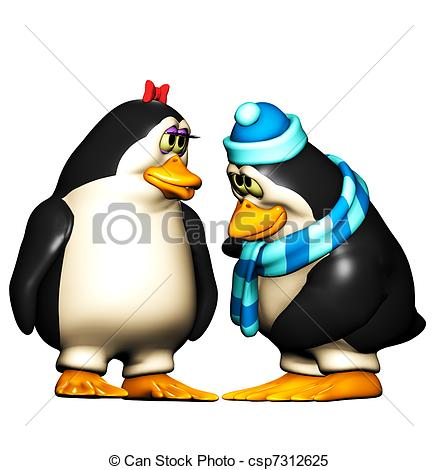 Boy Penguin being shy.