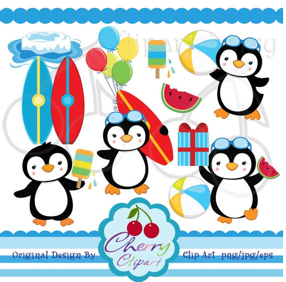 Summer Party Boy Penguin Digital Clipart Set for.