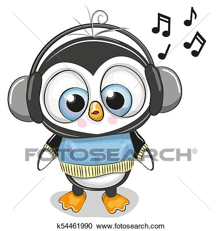 Cute cartoon Penguin Boy with headphones Clipart.