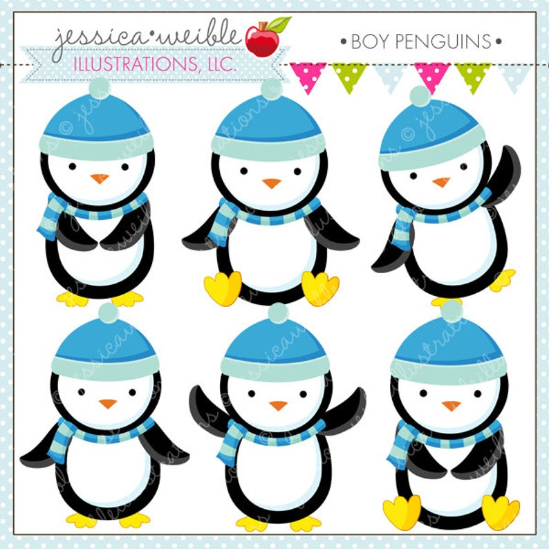 Boy Penguins Cute Digital Clipart.