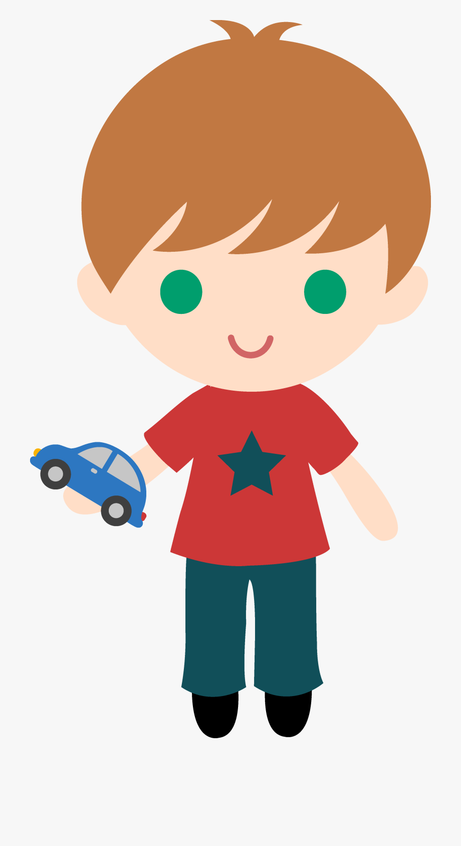 Great Boy With Toy Car Clip Art.