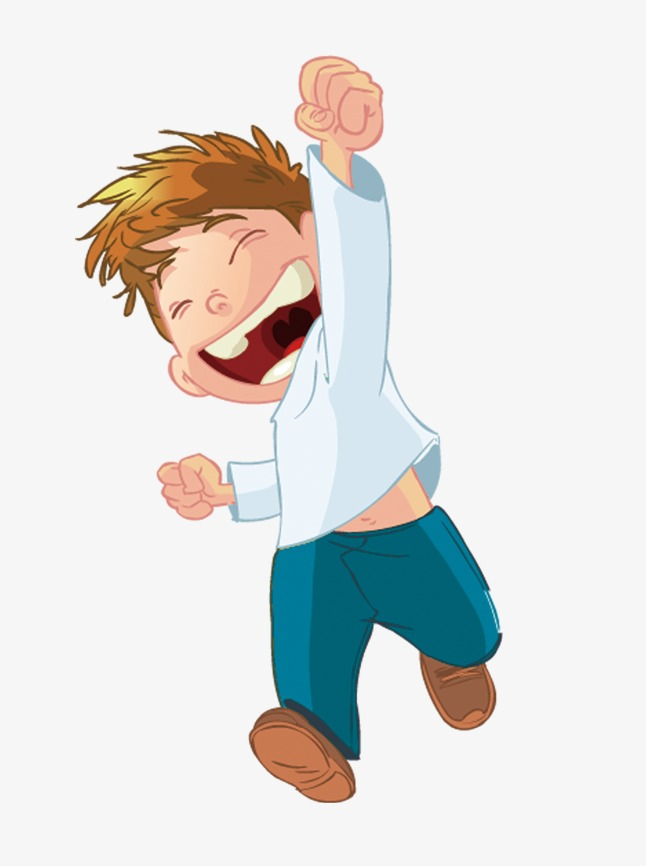 Excited Boy Cartoon, Boy Clipart, Cartoon Clipart, Excited Boy PNG.