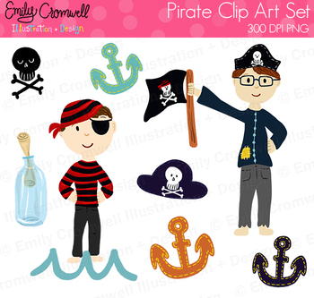 Pirate Clipart, Cute Boys Clipart.