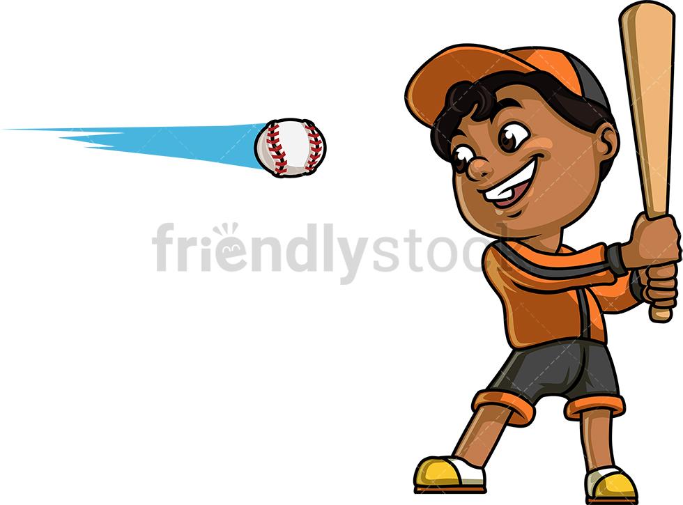Little Boy Playing Baseball.