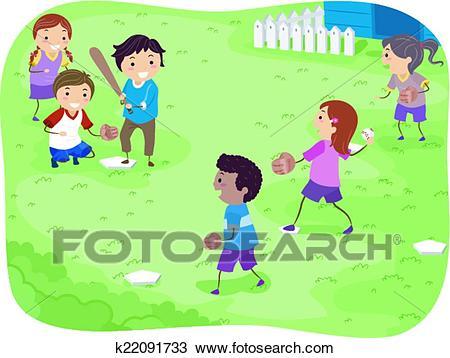 Baseball Kids Clipart.