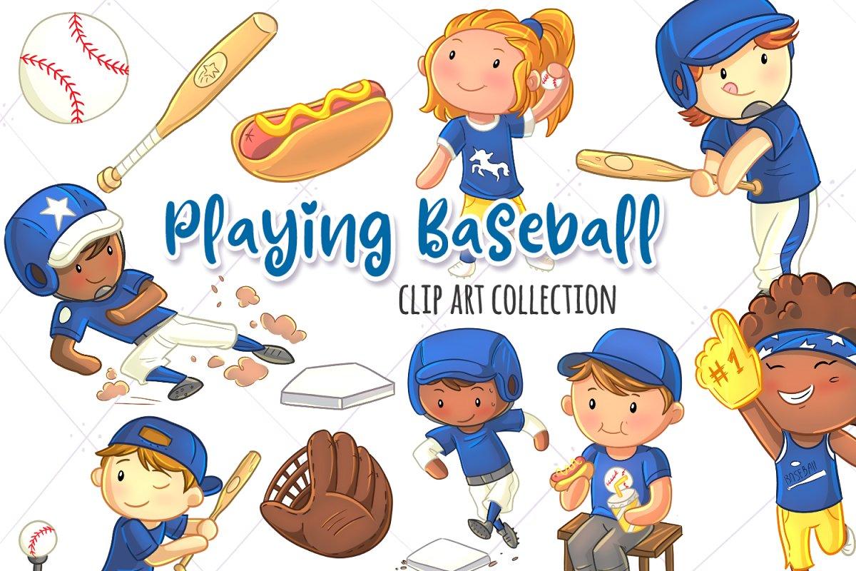 Kids Playing Baseball Clip Art.