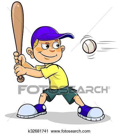 Cartoon boy playing Baseball Clip Art.