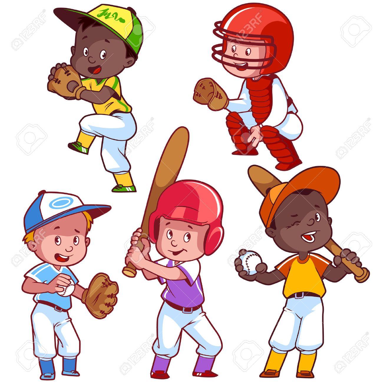 Cartoon kids playing baseball. Vector clip art illustration on...