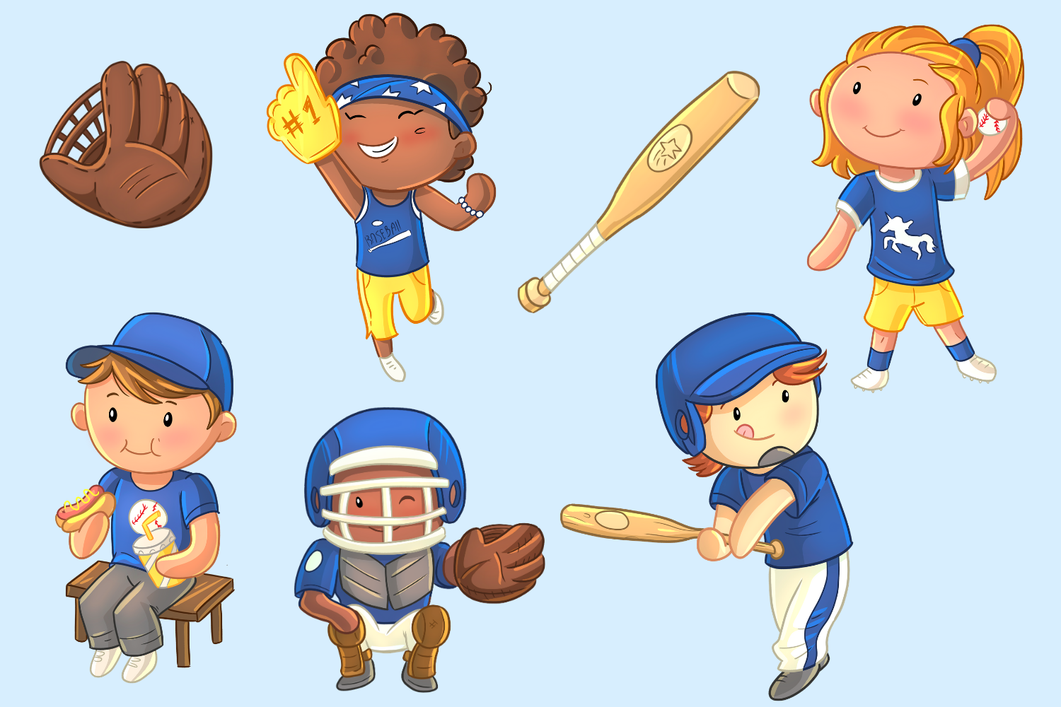 Kids Playing Baseball Clip Art Collection.