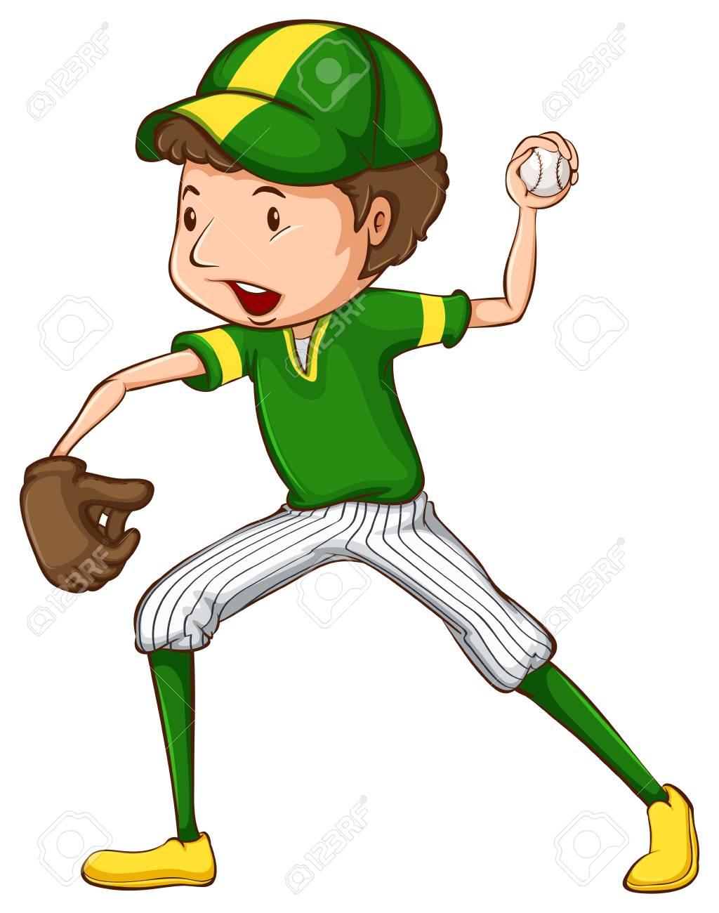 Illustration of a boy playing baseball.