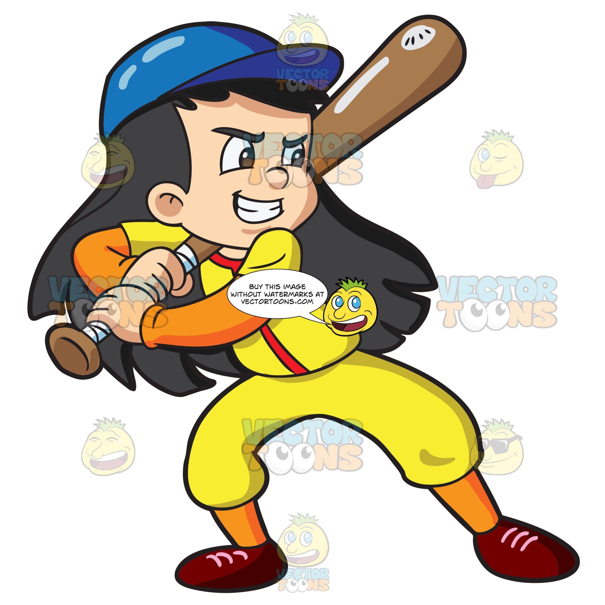 A Boy Getting Ready To Bat A Baseball.