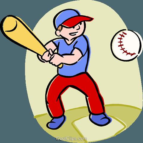 boy playing baseball Royalty Free Vector Clip Art illustration.