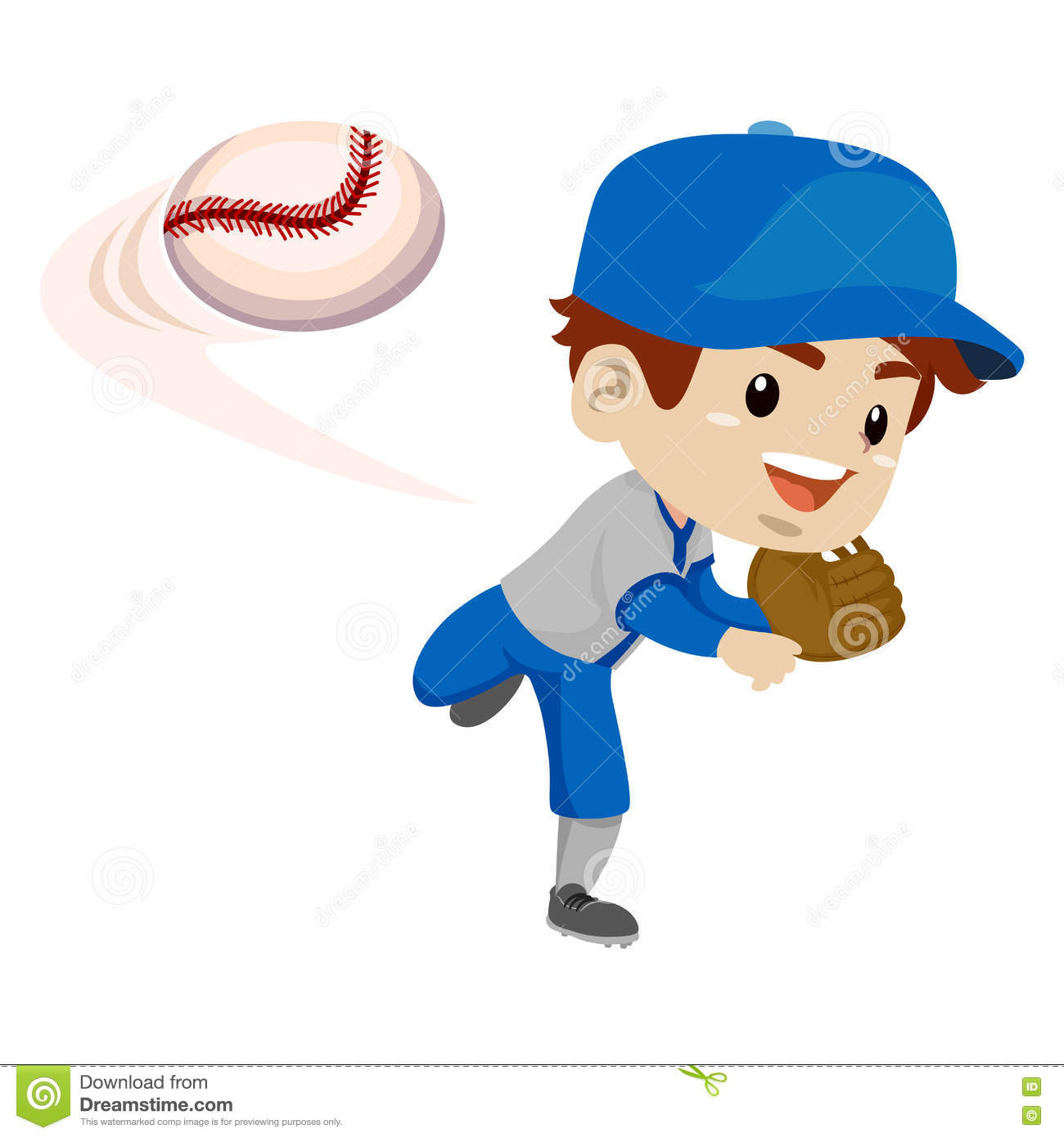 Kid Boy Baseball Player Throwing The Ball Stock Vector.
