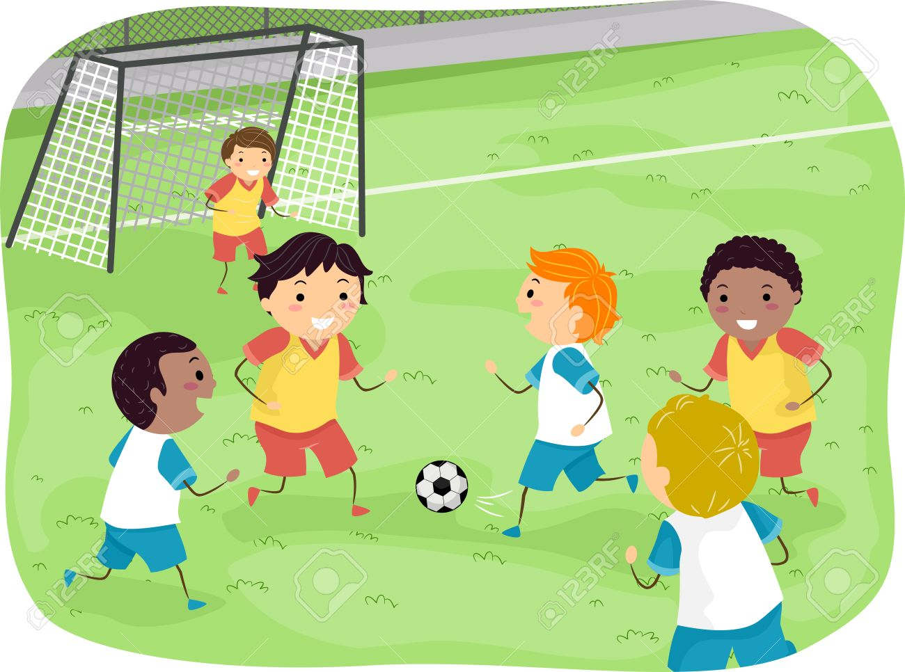 Illustration Featuring a Group of Boys Playing Soccer.
