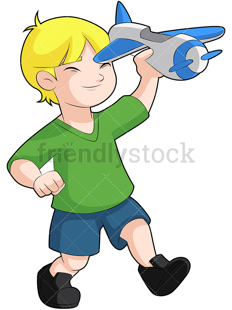 A Happy Young Blond Boy Playing With A Toy Airplane.